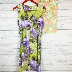 Prana L Green Purple Faux Wrap Dress Paisley